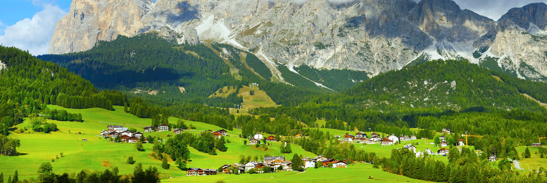 Cortina with the Dolomites in the background