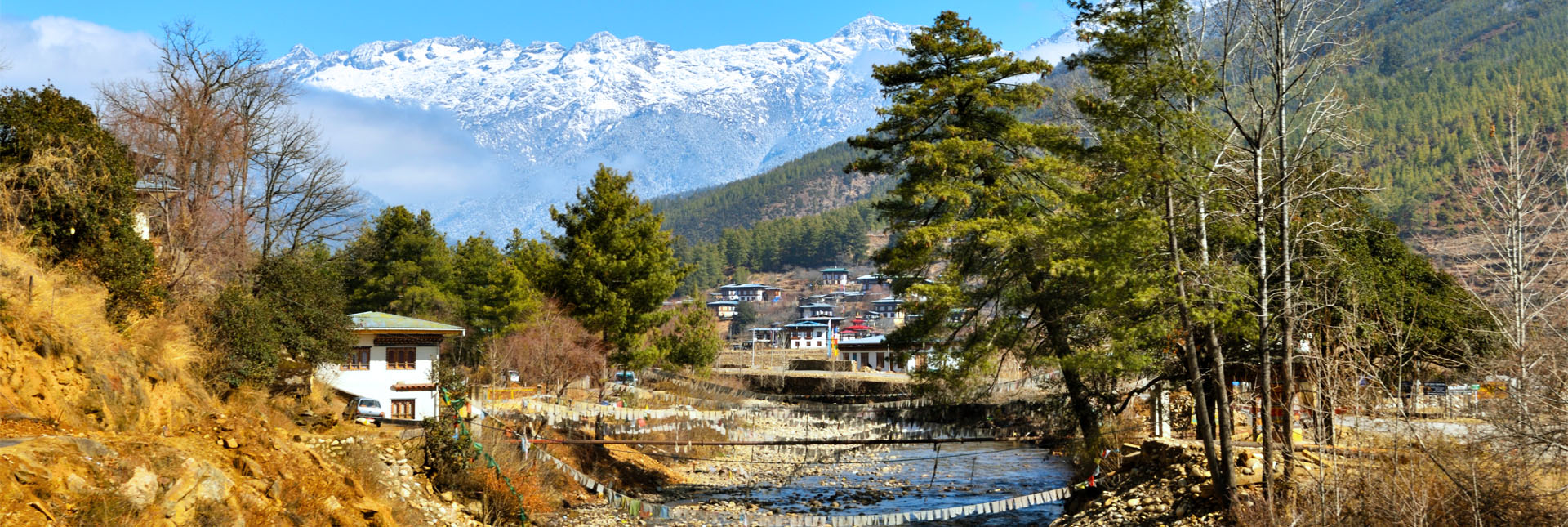 Paro town with the Bhutanese Himalaya in the backdrop