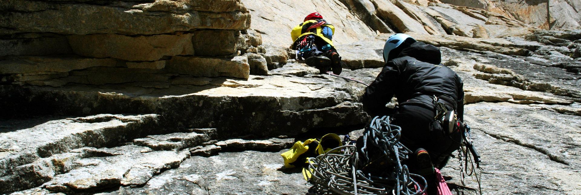Ascending a rockface