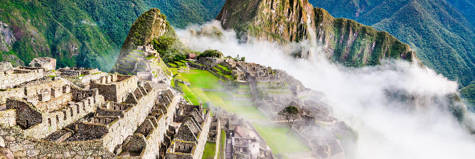 View of Inca ruins at Machu Picchu